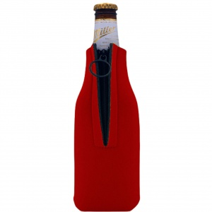red blank foam zipper bottle koozie