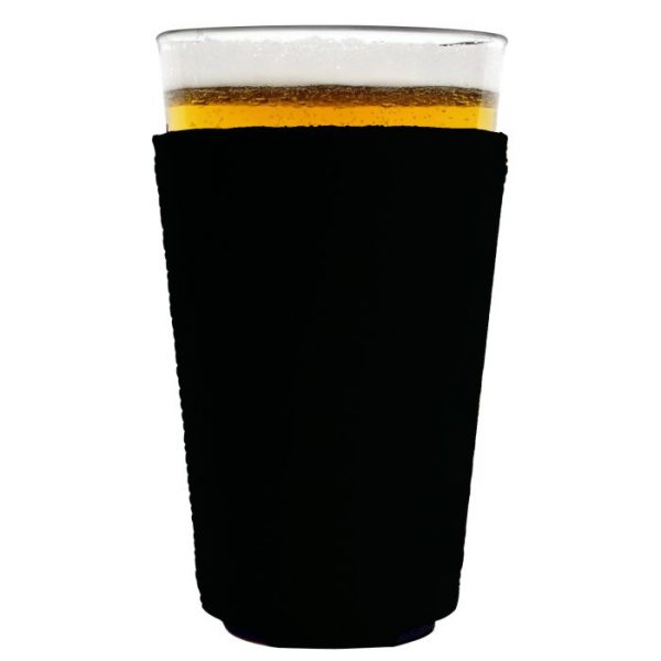 blank neoprene collapsible pint glass coolie koozie black