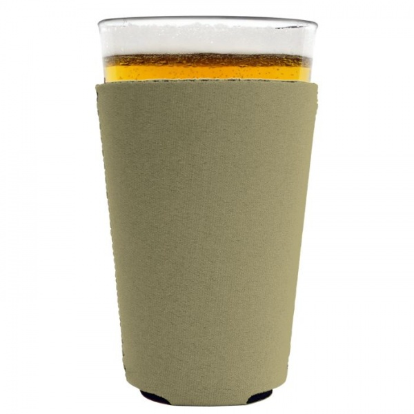 blank neoprene collapsible pint glass coolie koozie khaki
