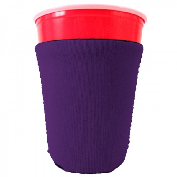 blank neoprene collapsible solo cup coolie koozie purple