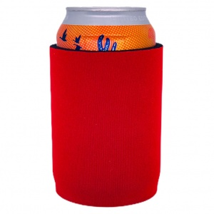 thick neoprene full bottom blank can koozie in red neoprene
