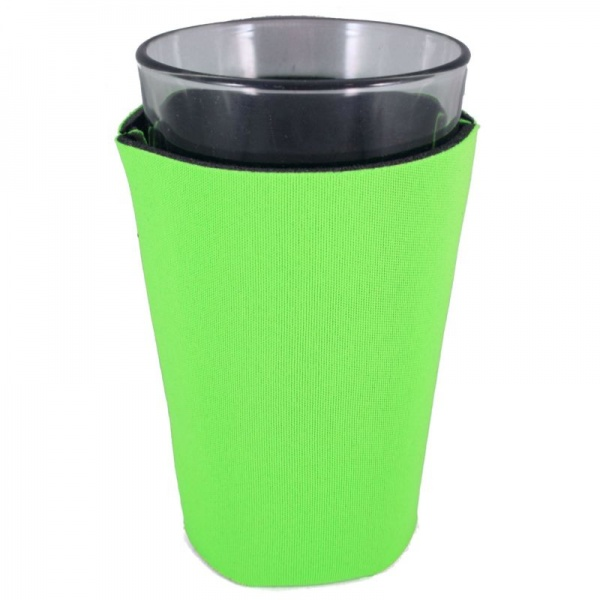 blank foam collapsible pint glass coolie koozie bright green