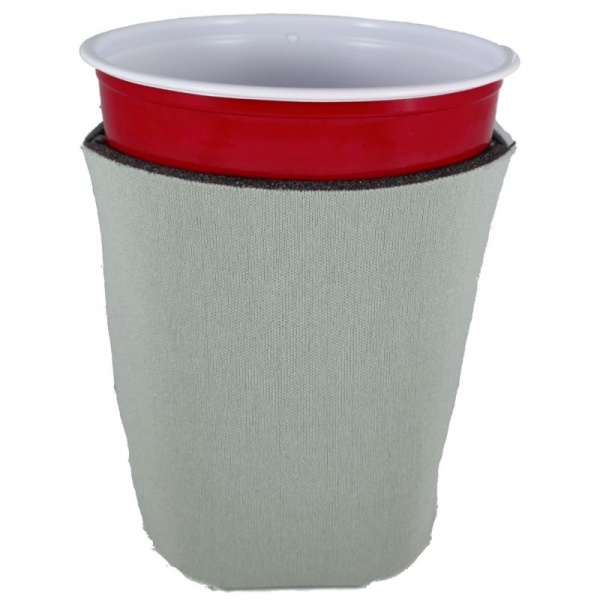 blank foam collapsible solo cup coolie koozie gray