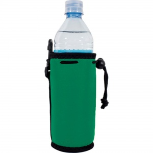green Blank Water Bottle Koozie with Clip and Drawstring, Green Neoprene Material
