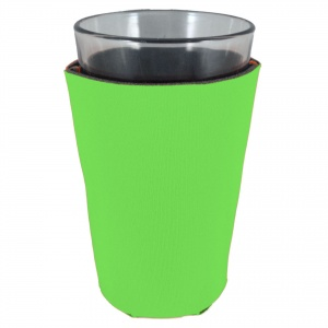 neon green blank foam pint glass koozie