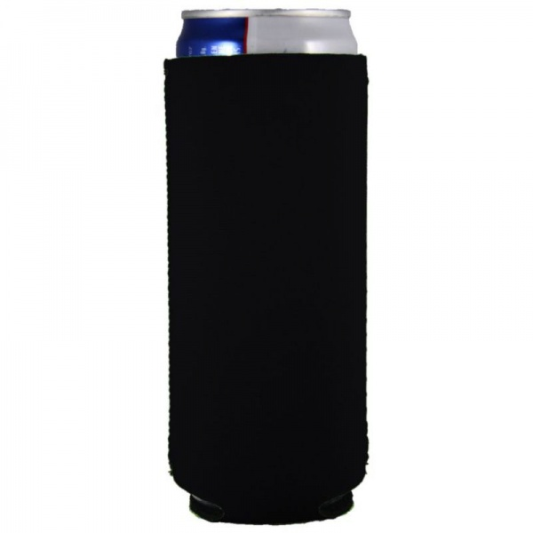 blank neoprene collapsible slim 12oz can coolie koozie black