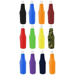 Blank neoprene bottle coolie color variety 12 pack.