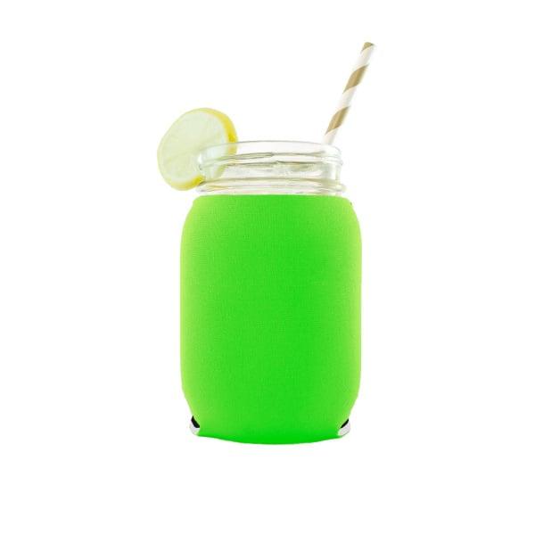 16oz mason jar koozie in bright green neoprene material