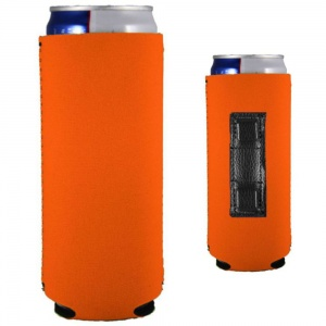 blank neoprene magnetic slim can koozie in orange neoprene