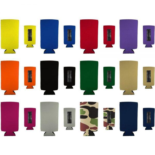 blank slim can koozie variety color 12 pack flat