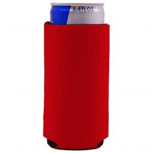 blank mini small 8.4 oz slim can koozie in red neoprene