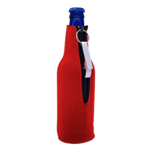 beer bottle koozie with opener and zipper red neoprene material